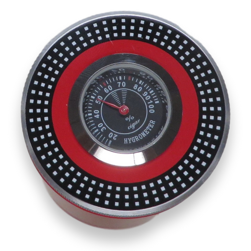 El-Septimo Large 8-Cigar Tube - With Holes - Ruby - Exterior Hygrometer