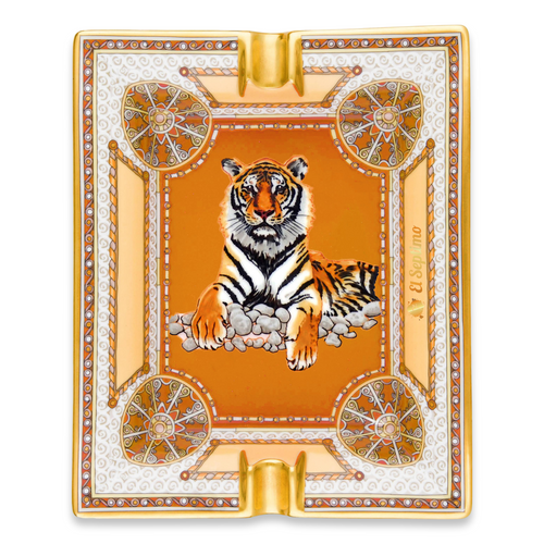 El-Septimo Safari Collection Ceramic 2-Cigar Ashtray - Tiger Eye - Exterior Front