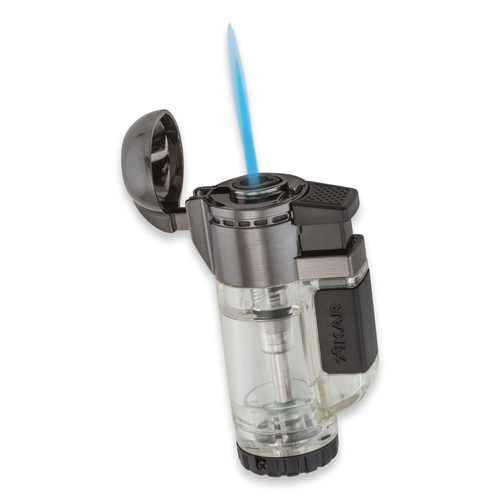 Xikar Tech Single Torch Flame Single Jet Cigar Lighter - Clear - Exterior Front