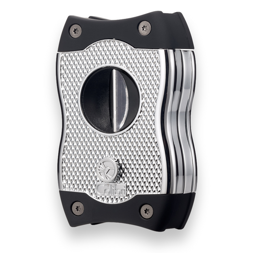 Colibri SV-Cut Cigar Cutter with Straight and V-Cut - Chrome and Black - Exterior Front Angle