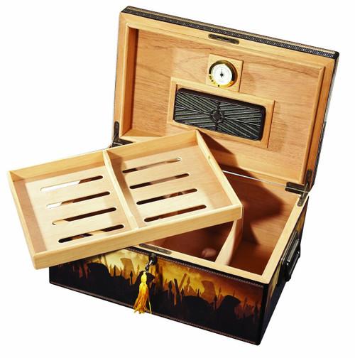 Man O' War Deluxe Desktop Humidor - 100 Cigars