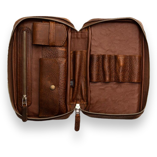 Peter James Aficionado Leather 5-Finger Cigar Case - Castano - Interior