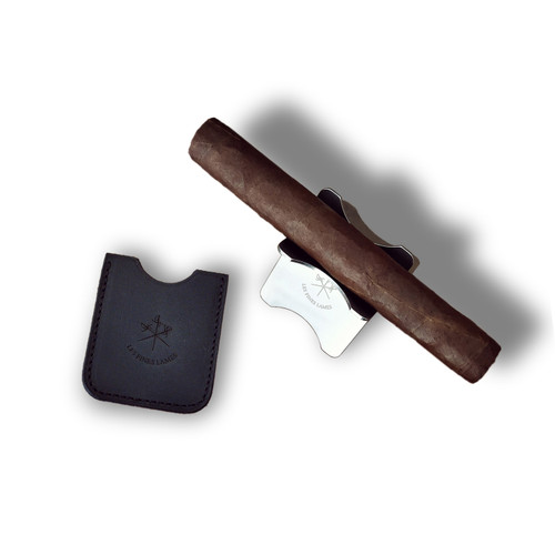 Les Fines Lames Metal Cigar Stand with Leather Case - Black - Exterior Top with Cigar