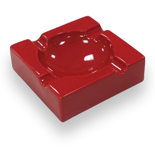 Prestige Large High Gloss Ceramic 4-Cigar Ashtray - Red - Exterior Front