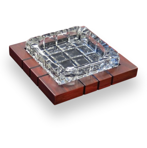Prestige Cross Hatch Crystal and Wood 4-Cigar Ashtray  - Exterior Front