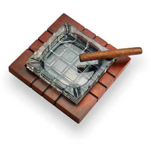 Prestige Cross Hatch Crystal and Wood 4-Cigar Ashtray  - Exterior Top with Cigar