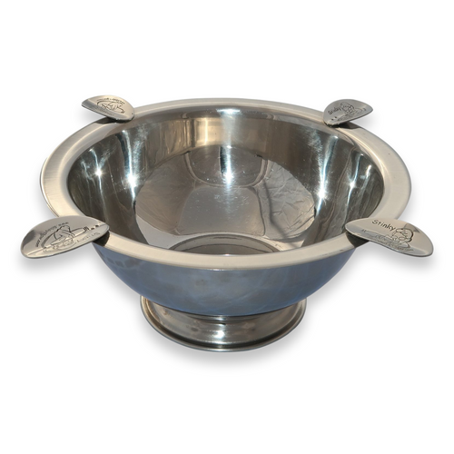 Stinky Cigar World Famous Original Metal 4-Cigar Ashtray - Polished Stainless Steel - Exterior Front