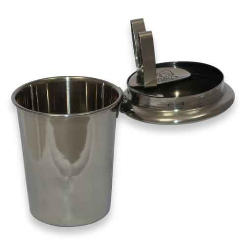 Stinky Cigar Polished Stainless Steel Metal 1-Cigar Car Ashtray  - Exterior Front Open