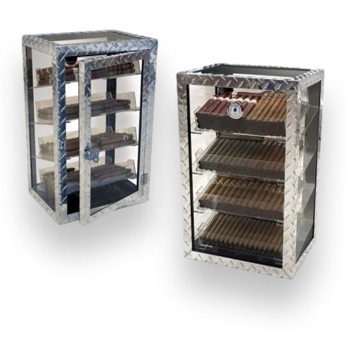 Prestige Diamond Plate 250-Cigar Acrylic Humidor  - Exterior Interior