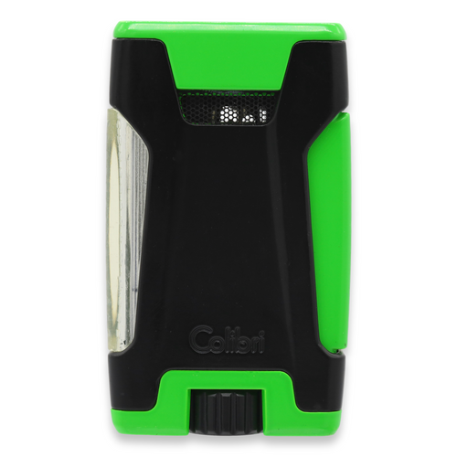Colibri Rebel Torch Flame Double Jet Cigar Lighter - Black and Green - Exterior Front