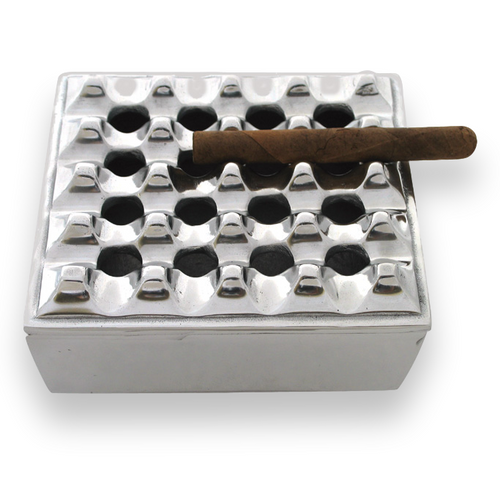 Quality Importers Polished Grid Metal 4-Cigar Ashtray  - Exterior Front