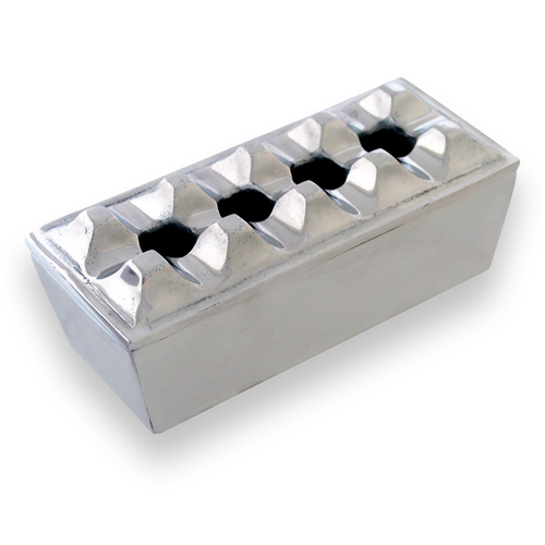 Quality Importers Polished Rectangular Metal 4-Cigar Ashtray  - Exterior Front