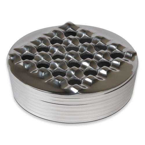 Quality Importers Polished Round Metal 4-Cigar Ashtray  - Exterior Front