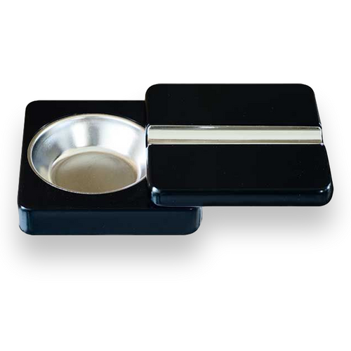 Quality Importers Twistable Metal 1-Cigar Ashtray - Black - Interior Front