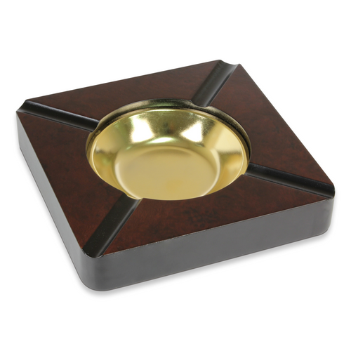 Quality Importers Square Wood 4-Cigar Ashtray - High Gloss Cherry - Exterior Front