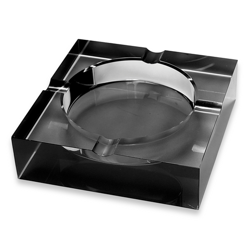 Quality Importers Square Crystal 4-Cigar Ashtray - Black - Exterior Front