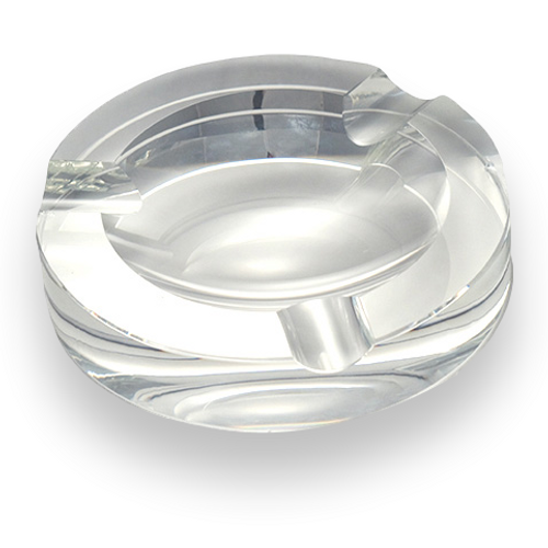 Quality Importers Round Crystal 3-Cigar Ashtray  - Exterior Front