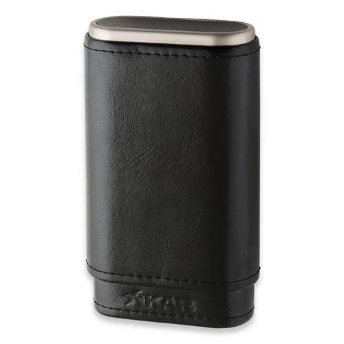 Xikar Envoy 3-Finger Cigar Case - Carbon Fiber - Exterior Front