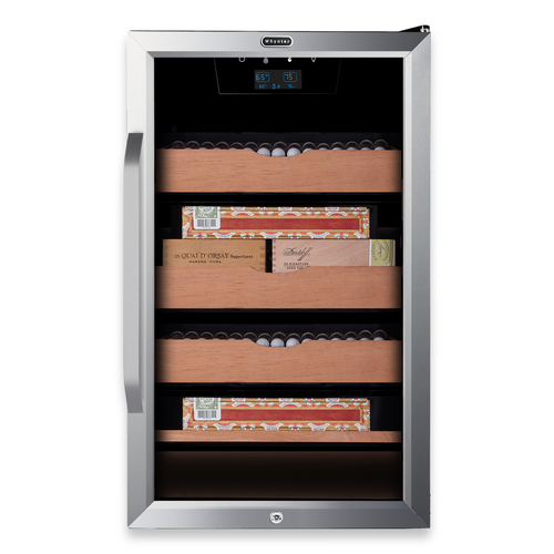 Whynter CHC-421HC Elite Touch Control Stainless 400-Cigar Cooler Humidor 4.2 cu. ft.  - Exterior Front with Cigars