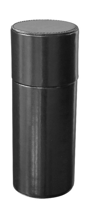 Quality Importers Leather 1-Finger Humidor Tube - Black - Exterior Front