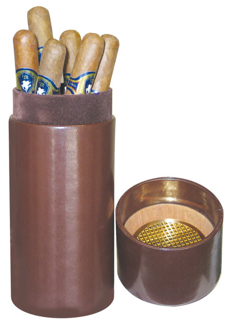 Quality Importers Leather 1-Finger Humidor Tube - Brown - Interior
