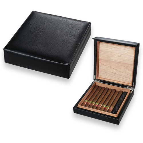 Visol Black Leather 16-Cigar Desktop Humidor