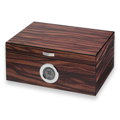 Visol Brawley Macassar  75-Cigar Desktop Humidor  - Exterior Front