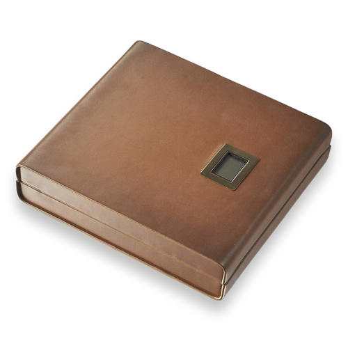 Visol Madrid  18-Cigar Desktop Humidor with Embedded Digital Hygrometer - Brown Leather - Exterior Front