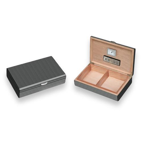 Visol Carbon Fiber Pattern 50-Cigar Desktop Humidor - Lacquered Medium - Exterior Front