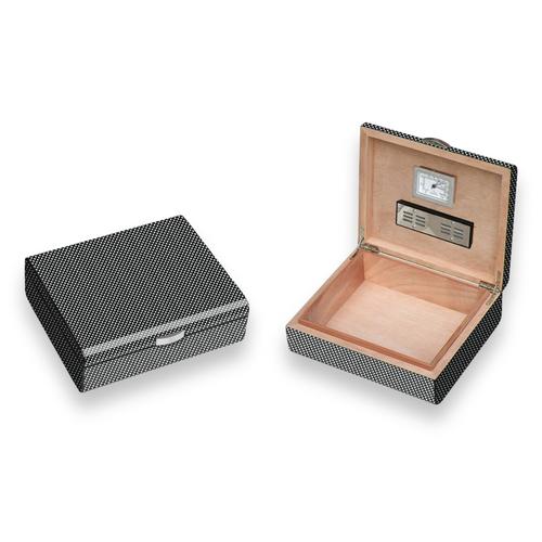 Visol Carbon Fiber Pattern 25-Cigar Desktop Humidor - Lacquered Small - Exterior Front