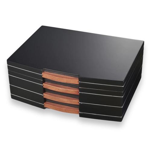 Visol Gerard Black Polished Wood 100-Cigar Desktop Humidor  - Exterior Front