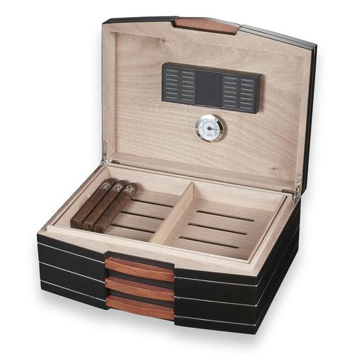 Visol Gerard Black Polished Wood 100-Cigar Desktop Humidor  - Interior