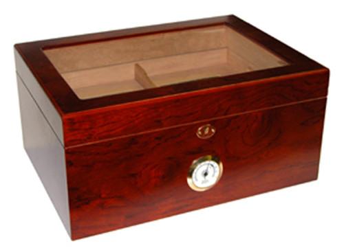 Milano Rosewood Glasstop Desktop Humidor - 75-100 Cigars