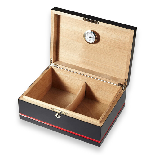 Visol Hydra Black and Red 75-Cigar Desktop Humidor - Black and Red - Interior