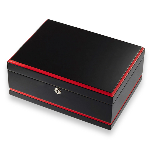 Visol Hydra Black and Red 75-Cigar Desktop Humidor - Black and Red - Exterior Front