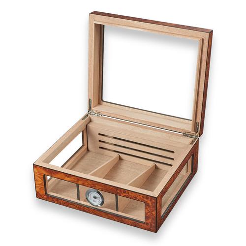 Visol Lorenzo See-Thru 75-Cigar Glasstop Humidor