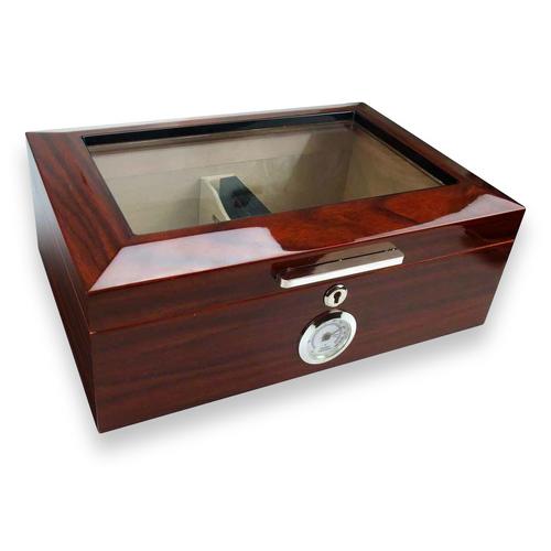 Visol Morello Cherry 100-Cigar Glasstop Humidor  - Exterior Front