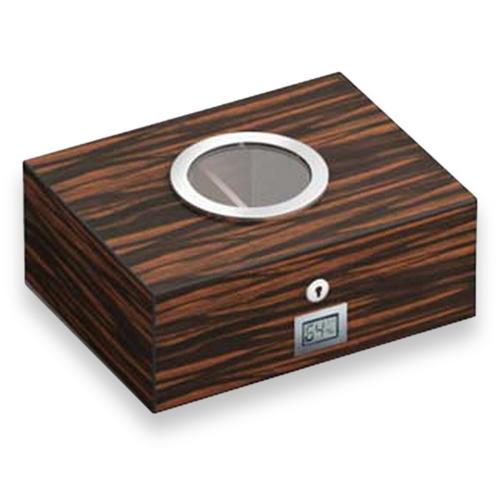 Visol Porthole Burlwood 75-Cigar Desktop Humidor  - Exterior Front