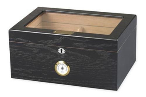 Milano Black Oak Glasstop Desktop Humidor - 75-100 Cigars