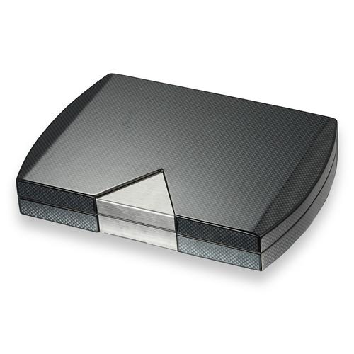 Visol Prosperio Carbon Fiber 20-Cigar Desktop Humidor  - Exterior Front