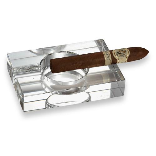 Visol Ember  Crystal 1-Cigar Ashtray  - Exterior Front with Cigar