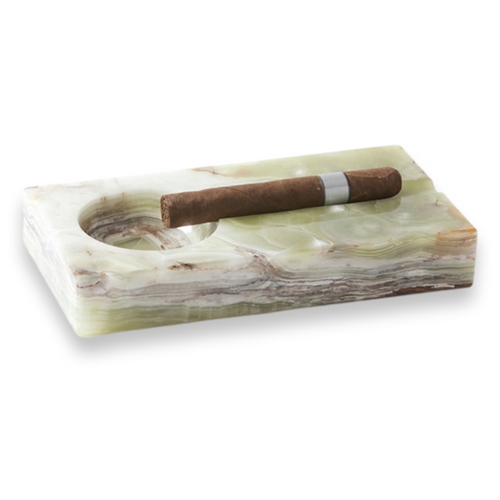 Visol Jesper Rectangle Onyx Stone 2-Cigar Ashtray  - Exterior Front