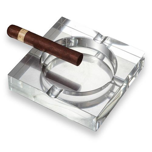 Visol Arnold Crystal 4-Cigar Ashtray  - Exterior Front with Cigar