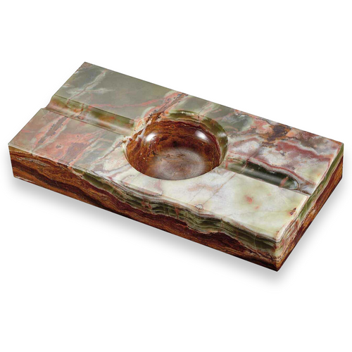 Visol Rectangle Onyx  Stone 2-Cigar Ashtray - Azure Light Olive and Brown - Exterior Front