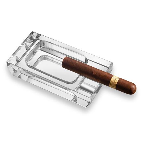 Visol Dalis Crystal 1-Cigar Ashtray  - Exterior Front with Cigar