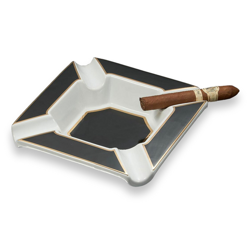 Visol Festus Porcelain 4-Cigar Ashtray - Matte Black and Gold - Exterior Front
