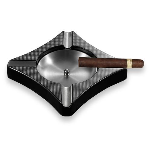 Visol Fuego Patterned  Carbon Fiber 4-Cigar Ashtray  - Exterior Front with Cigar