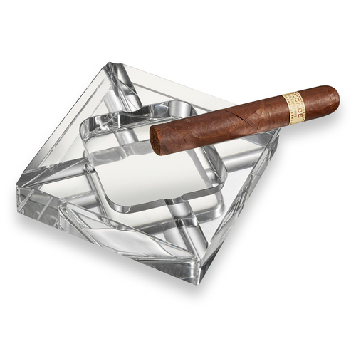 Visol Hyperion Square Crystal 4-Cigar Ashtray  - Exterior Front with Cigar