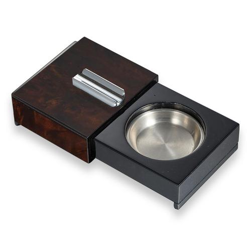 Visol Loki Sliding 1-Cigar Ashtray - with Removable Compartments - Burl Wood - Exterior Front Ashtray