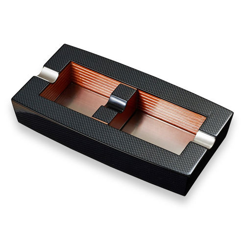 Visol Normandy Elongated Carbon Fiber 2-Cigar Ashtray - with Adjustable Cigar Rests  - Exterior Front
